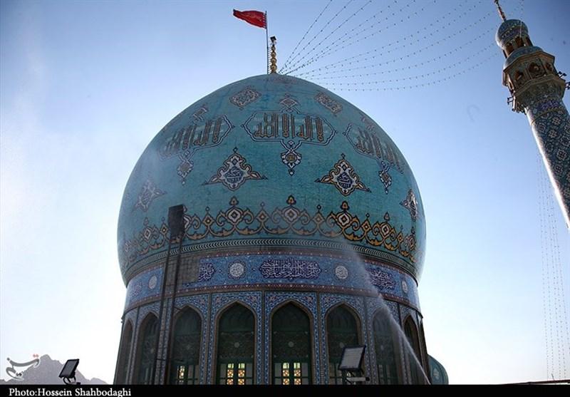 مراسم تعویض پرچم و شست و شوی گنبد مسجد جمکران از نگاه دوربین
